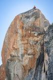 Climber on the route.Aiguille du Midi Royalty Free Stock Photos