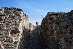 The climber on the ruins Royalty Free Stock Image
