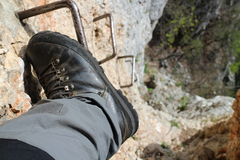 Climber ´s foot on slope of Wildenauersteig, Hohe Wand Stock Photos