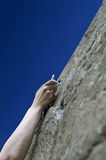 Climber's hand with quick-draws Royalty Free Stock Images