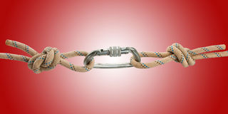 Climber's rope with carbine Royalty Free Stock Image