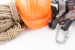 Climber's ropes and protective wear stock images