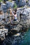 Climber and sea Royalty Free Stock Photos