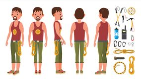 Rock Climber Male Set Vector. Rock Climbing Sport. Climbing vector illustration