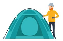Climber set, camper puts his tent. Character creation.  Royalty Free Stock Photo