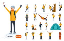 Climber Set. Ready To Use Character Set. Climber With A Pick On Top Of A Mountain, Tourist Hiking, Resting, Walking Royalty Free Stock Image