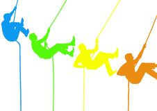 Climber silhouettes in intense colors. White background. Digital composite of climber silhouettes in intense colors. White background Stock Photography