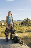 Climber standing on Boulder with Gear, (portrait) Stock Image
