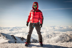 Climber on the summit of Mont Blanc Royalty Free Stock Photography