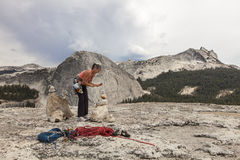 Climber on the summt. Stock Images