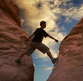 Climber on sunset Royalty Free Stock Photography