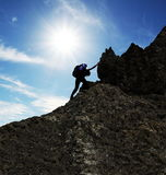 Climber on sunset Royalty Free Stock Images