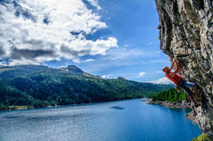 Climber surrounded by a wonderful landscape Royalty Free Stock Photography