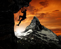 Climber in the Swiss Alps Royalty Free Stock Image