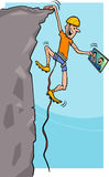 Climber with tablet cartoon illustration Stock Photo