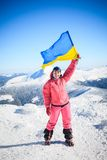 Climber, top, flag, Ukraine Royalty Free Stock Photo