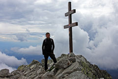 Climber on top of Krivan Peak Stock Image