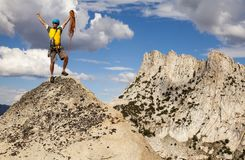 Climber on the top. stock photography