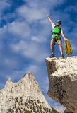 Climber on the top. Stock Photo