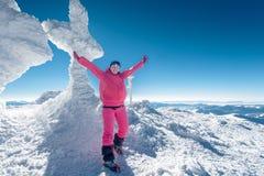 Climber, top, woman, joy Royalty Free Stock Images
