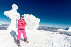 Climber, top, woman, joy Royalty Free Stock Photos