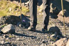 Climber on trail in the mountains. a man in a hike on road with walking sticks. Legs closeup royalty free stock photos