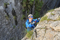 Climber on via ferrata Stock Photography