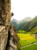 Climber on via ferrata Royalty Free Stock Image