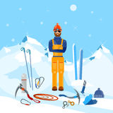 Climber winter holidays mountain and adventure Royalty Free Stock Image