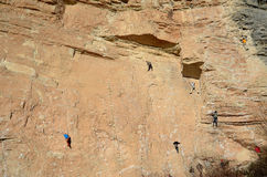 What vertigo. Climberg in action Stock Images