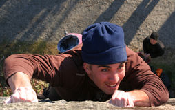 Climberlogan2. A focused rock climber royalty free stock photography