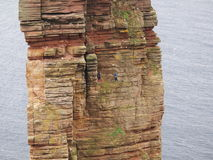 Climbers. On Old Man of Hoy Island, Orkney, Scotland stock image