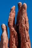 Rock Climbing. Climbers in action in Garden of the Gods stock photo