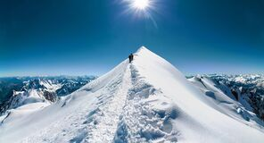 Free Climbers Approach The Mountain Top Royalty Free Stock Photography - 179000717