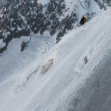 Climbers ascending way up to Aiguille du Midi with details of Ai Stock Image