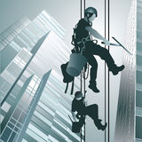 Climbers clean windows. Climbers on clean glass skyscraper  on background. Vector illustration Royalty Free Stock Image