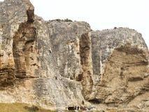 Climbers climb on rock in Crimean Mountain Stock Photo