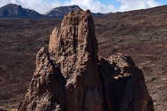 Climbers climb to the peak of the Teide National Park stock images