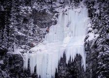 Ice climbing waterfall royalty free stock photos