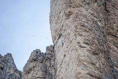 Climbers climbing on the rocks of the Alps royalty free stock image