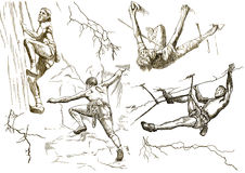 Climbers collection. Climbers in action (hand drawing collection of sketches Royalty Free Stock Photography