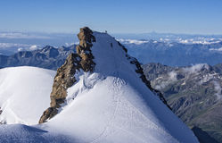 Climbers on Corno Nero peak, Monte Rosa, Alps, Italy Royalty Free Stock Photos