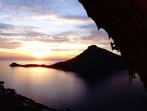 Climbers dream sunset in kalymnos Royalty Free Stock Images