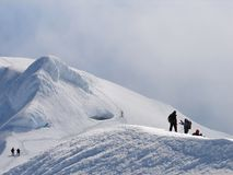 Climbers on edge of crater of volcano Beerenberg Royalty Free Stock Image