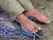 Climbers feet Royalty Free Stock Photo