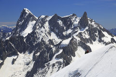 Climbers on French Alps Mountains near Aiguille du Midi, France Royalty Free Stock Images
