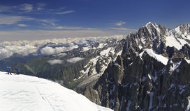 Climbers on French Alps Mountains near Aiguille du Midi, France. Europe Royalty Free Stock Image