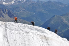 Climbers on the glacier Royalty Free Stock Images