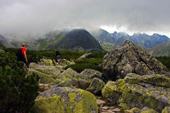 Climbers going up the mountain in Tatra Mountain Royalty Free Stock Photography