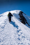 Climbers groups on Mont Blanc massif Stock Photography